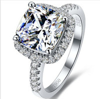 Wholesale princess cut diamond ring sets resale online - Hot sale Top Brand Style Karat Princess Cut Cushion Shape SONA Synthetic Diamond Engagement Or Wedding Ring Best Anniversary gift