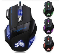 Wholesale High Quality Computer Mouse - High Quality Professional Wired Gaming Mouse 7 Button 5500 DPI LED Optical USB Wired Computer Mouse Mice Cable Mouse DHL fast