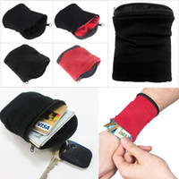 Wholesale wrist pouches - 1PC Wrist Wallet Pouch Fleece Zipper Travel Gym Cycling Sport Wallet Hiking Accessiories High Quality Outdoor Camping Tool