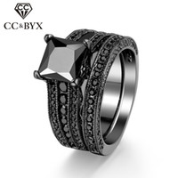 WholeSale Midi Rings For Women Jóias Moda Luxo Black Square Cubic Zirconia Diamond Black Gold Plated Double Pieces Ring Sets R629