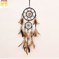 Compra Ornamenti Di Piuma-Hang Catcher Hangings Dream Catcher Wall Chimes Shells Cerchi concentrici Ornamenti di piuma Windbell per la casa Decorazione auto