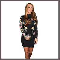 Wholesale Top Fashion women Fall Winter Long Sleeve Bodycon Stretchy Vintage Flower Print Party Pencil Dress S XXL
