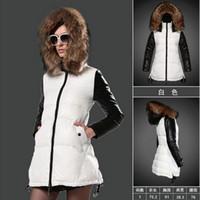 Wholesale Rib Mountain - 2017 New Fashion down jacket women winter coat fur collar long coat White and black stitching Light overcoat Mountain ski jacket