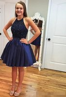 Wholesale Taffeta Sequin Halter Neck - Navy Blue Short Homecoming Dresses 2017 Halter Cheap Bead Sweet 16 Ball Gown Beading Short Prom Dress Cocktail Party Gowns