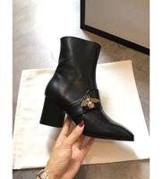 ingrosso scarponi da combattimento nero-Stivaletti tacchi alti Stivaletti da donna Stivaletti da combattimento di marca in vera pelle nera con tacchi a perle