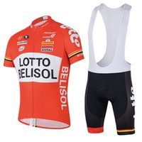 mayo bib lotto toptan satış-Toptan bisiklet jersey loto kırmızı Soudal bisiklet bisiklet giyim maillot ropa ciclismo mavi jel beyaz siyah bib şort yol