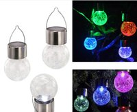 Wholesale Coloured Glass Balls - Solar battery operated led ball light colour chaning LED Crackle Glass Hanging Lights outdoor for yard garden holiday decoration LLFA