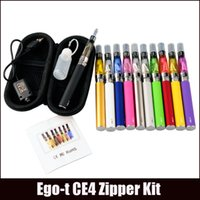 Wholesale E Cig Battery Sets - eGo-T CE4 Starter Kit E Cigarette 650 900 1100mAh eGo t battery 1.6ml CE4 Clearomizer E Cig Set Zipper Case Kit 12 Colors IN STOCK