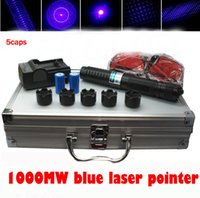 Wholesale Strong Military Lasers - Strong Power Military Blue Laser Pointer Pen 450nm Can Burning Cigarettes  Matches with glasses changer metal box battery DHL Free Shipping