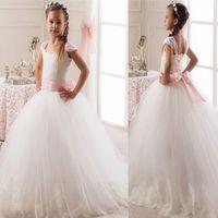 online shopping Princess Ballgown Blue Wedding Dress - 2017 new Flowergirl Dresses Lace Applique Sheer Tulle Princess Kids Floor Length Bridesmaid Dress Girl Pageant Ballgown