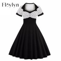 Wholesale Polka Dot Swing - Wholesale- Floylyn 2017 Short Sleeve Summer Women Dress S-4XL Plus Size Polka Dot 50s 60s Swing Retro Vintage Dress Black and White