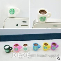 Wholesale Newest Dust Plugs - Wholesale Newest 3.5mm StarBucks Cup Anti Dust Cap Charm Plug Earphone Jack Dustproof Cover for iphone 4 4S ipad 2 ipod RJ1509 0416dd