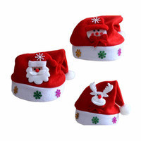 Wholesale lovely Kids Chirstmas natal Santa Claus Reindeer Snowman Snowflakes Hats adornos navidad kerst Hat For Children new Year Gift