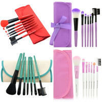 Wholesale red make up brushes - Professional Makeup Brushes Make Up Brush Set Kits Eyelash Brush Blush Brush Eye-shadow Brush Sponge Sumudger 7pieces Make Up Tools