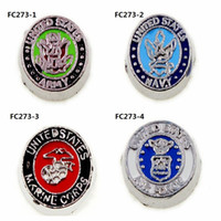 Wholesale Marines Charms - 50PCS Mix style & Color new USA marine corps floating charm military floating charms for glass floating locket