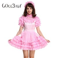 Wholesale Lockable Dresses - Custom Made Forced Sissy Girl Maid Lockable Pink Satin Organza Puffy Dress Uniform Cosplay Costume Crossdress