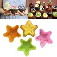 Wholesale Silicone Star Baking Cup - 500pcs High Quality Star shape Silicone Muffin Cases Cake Cupcake Liner Baking Mold Bakeware Maker Mold Tray Baking ZA0469