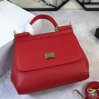 Wholesale Wedding Totes - 2017 new fashion leather handbag fashion handbag Sicily series red wedding cross bangalor all-match