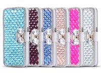Wholesale Iphone Case Pearls Flip - S7 Luxury 3D Rhinestone Bling Crystal Flip Pearl Diamond PU Leather Wallet Case For iPhone 5 6 6S Plus Samsung S5 S6 Edge Note 3 4 5 Note4