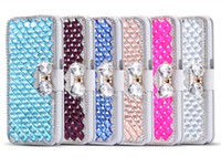 S7 Luxus 3D Rhinestone Bling Kristall Flip Perle Diamant PU Leder Brieftasche Fall für iPhone 5 6 6S Plus Samsung S5 S6 Edge Hinweis 3 4 5 Note4