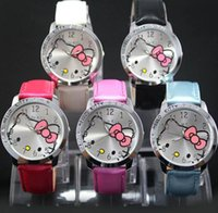 Wholesale girl kitty - Fashion Women Girl Hello kitty KT cat style crystal Leather strap Wrist Watch