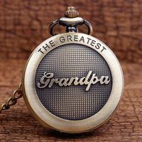Wholesale Best Grandpa - Wholesale-New Arrival Antique The Greatest Grandpa Bronze Quartz Pocket Watch Pendant Chain Men's Top Quality Best Gifts P309-1