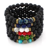 charms stones al por mayor-6 Diseños Lava Rock Beads Charms Bracelets Mujeres Difusor de Aceite Esencial Piedra Natural Con Cuentas Bangle Para Hombres s Chakra Artesanía Joyería