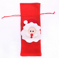 Wholesale Wine Bottle Wrapped - New Arrive Red Wine Bottle Cover Bags Christmas Dinner Table Decoration Home Party Decors Santa Claus