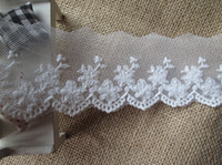 Wholesale Wolesale ivory off white embroidered lace trim diy weddingc cm