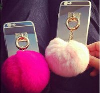 Wholesale Cute Cheap Cases - New Cheap Iphone 7 Case Soft TPU Protective Case Cover with Furry Fur Ball Iphone 5 5s SE Iphone 6s 6 plus Cute Iphone Case DHL 100pcs