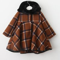 Wholesale Infant Baby Swing - Kids Girls Plaid Hooded Coat Baby Girls Big Swing Trench Coat 2017 Winter Infant Princess Outwear Children Wool Blends Coats Clothing D78