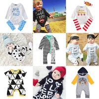 Wholesale Autumn Rompers - New Kids Clothing Sets Rompers Jumpsuits Winter Autumn Spring Long Sleeve Baby Casual Suits Infant Rompers 0-24M
