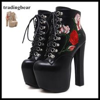 Wholesale Thick Platform Work Shoe - 16cm Rose Flower Embroidery Super Sexy Thick High Heel Ankle Boots Round Toe Platform Shoes Beige Black Size 34 to 40