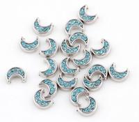 manyetik kilitler kristaller toptan satış-20 adet / grup Mavi Kristal Ay Yüzen Madalyon Takılar DIY Alaşım Aksesuarları Oturma Manyetik Bellek Cam Yüzer Locket Için Fit