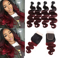 Wholesale Two Tone Peruvian Body Wave - Ombre Brazilian Body Wave Virgin Hair Weaves Two Tone 1B 99J Burgundy Wine Red Peruvian Malaysian 4 Bundles With Closure 5Pieces Lot