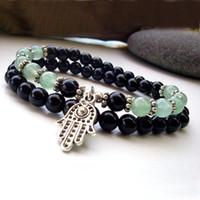 Wholesale Fashion Luck Bracelets - SN0141 Fashion Bracelet Wholesale Onyx and Jade bracelet Men Hamsa bracelet Good Luck bracelets Jade Hamsa bracelet