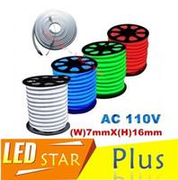 tubo de néon flexível vermelho venda por atacado-RGB LED Tubo de Néon Flex Light À Prova D 'Água Ao Ar Livre Flexível de Néon Iluminação Vermelho Branco Verde Azul led neon jaqueta de corda AC 110 V