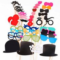 44 pezzi / set Photobooth Photo Booth Puntelli per matrimonio Birthday Party Photo Booth Props Occhiali Baffo labbra su un bastone