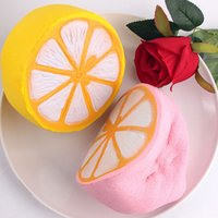 Wholesale Lemon Charms - 11.5cm 20pcs Jumbo kawaii Simulation Fruit Yellow Pink Lemon Slow Rising Squishies Scented Lemon Squishy Stress Relief Toy Charms Xmas Gift