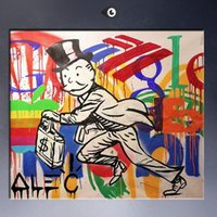 Wholesale Dj Wall - Framed High Quality genuine Hand Painted Wall Decor Alec DJ monopoly Pop Art Oil Painting On Thick Canvas,Multi Size Free Shipping TY057