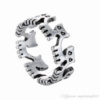 Wholesale Retro Cat Ring - 12pcs lot Retro Punk Antique Animal Ring for Women Men Fashion Jewelry Cat Openings Ring (Antiqued Silver Bronze Color)