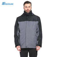 зимняя охотничья одежда оптовых-Wholesale-Dropshipping  outdoor 3in1 Coat Jacket Men Winter Hunting Clothes Windproof Hiking Jackets Coat Camping Overcoat