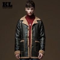 Wholesale Luxury Fleece Jackets - Fall-Winter Leather Jacket Men Faux Fur Coat Military Luxury Fleece Bomber Jackets Thicken Warm Long Trench Coat Outwear Suede Jacket
