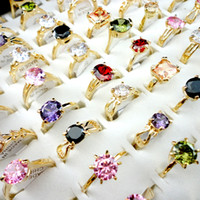 Wholesale Gold Plated Rings Bulk - Fashion Multicolored Zircon Gold Engagement Ring for Women Fashion Whole Jewelry Bulks Mix Lots Packs LR439