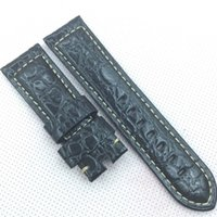 Wholesale Black Stone Needle - 24mm 120 75mm Good quality Luxury Black Stone Cow Calf leather Band Strap for PAM LUNMINOR RADIOMIR