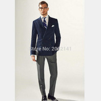 Wholesale Grey Blazers For Men - Wholesale-Hot Sale Neavy Blue Blazer Men For Men Double Breasted Blazer Masulino Fashion Suit Jacket Jaqueta Masculina Skinny Coat