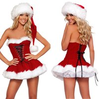Wholesale Sexy Christmas Lady Outfits - Christmas Sexy Ladies Santa Fur Hat Lingerie Outfit Costume Cosplay Fancy Dress
