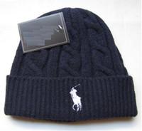 Wholesale polo black knit resale online - Fashion polo winter beanie men hat casual knitted sports cap ski gorro black grey blue red Knit Bonnet hight quality Warm skull caps