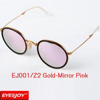 Wholesale Yellow Frame Folding - Summer Pilot Sunglasses for Men Women Excellent Quality Sunglasses Metal Folding Fram Pink UV400 Lens + glasses Box