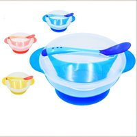 Wholesale Plastic Bowl Slip - Non Slip Sucker Bowl Kit With Temperature Sensitive Spoon Cover Training Bowls Set Safe Plastic Baby Supplies 2 95xd B